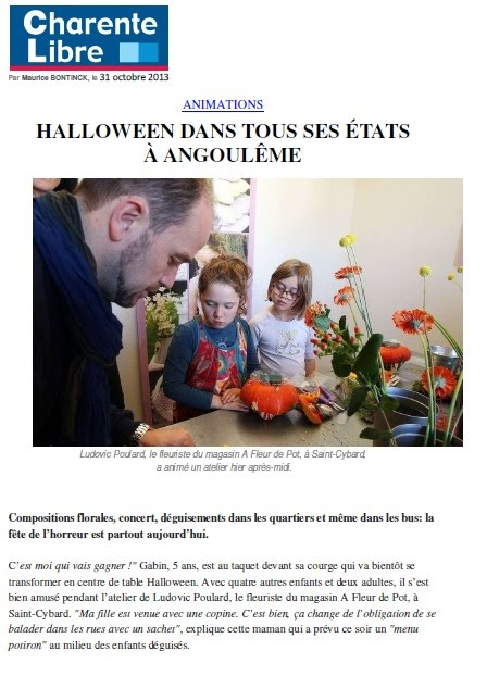 Photo pour SITE Article Charente Libre Halloween 13-10-2013 - A FLEUR DE POT Angouleme