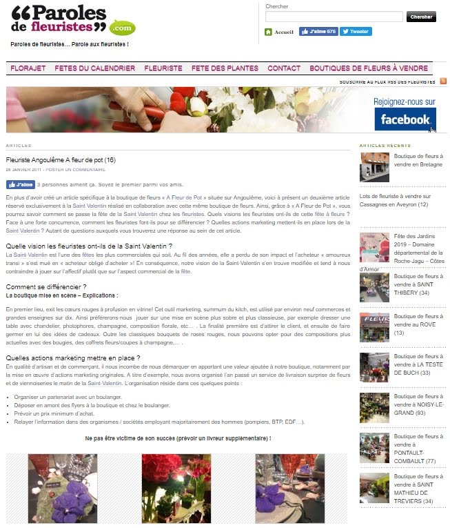 Lien Article Paroles de Fleuristes.com 25-01-2011 - A FLEUR DE POT Angouleme