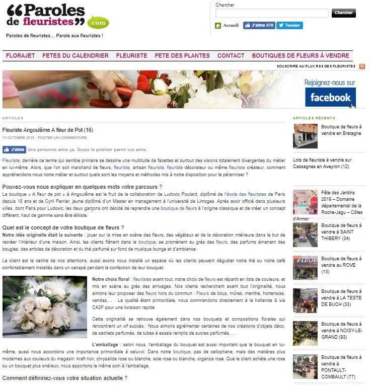Lien Article Paroles de Fleuristes.com 13-10-2010 - A FLEUR DE POT Angouleme